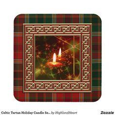 Celtic Tartan Holiday Candle Set of 6 Coasters