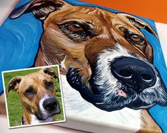 """CUSTOM dog painting cat painting pet portrait from your photo 8x8"""""""