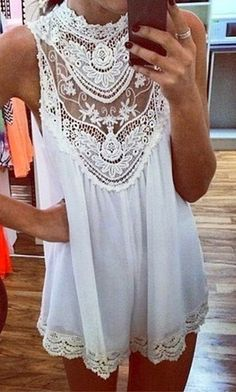 White Chest Hollow Out Sleeveless Shift Lace Dress