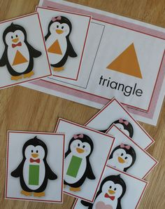 Penguin shape sorting activity for preschool and pre-k and tot school. Teach kids how to recognize shapes with this winter themed activity.