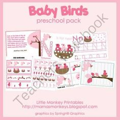 Free Baby Birds Preschool Pack from LittleMonkeyPrintables on TeachersNotebook.com -  (24 pages)