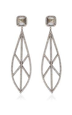 18K Blackened White Gold and Diamond Drop Earrings by Eva Fehren - Moda Operandi