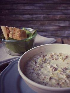 Cremige Lauch Hackfleisch Suppe ohne Maggi oder Knorr, einfach und sättigend mit Porree, Hackfleisch und Schmelzkäse