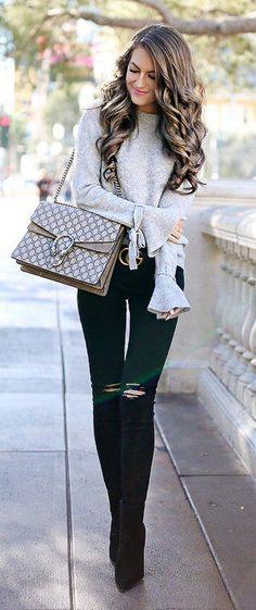 #winter #fashion / Szary dzianiny / Czarny Skinny Jeans / Boots Ripped Czarny OTK