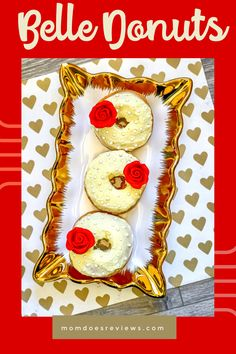 Easy and Pretty Belle Donuts #disney #funfood #donuts Disney Desserts, Cute Donuts, Princess Tea Party, Best Instant Pot Recipe, Red Velvet Cupcakes, Food Categories, Good Food, Fun Food, Kids Meals