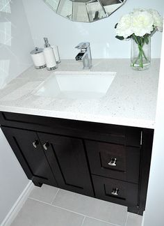 The Master Bathroom Has Black Granite Countertops With Double - Small bathroom vanity with sink