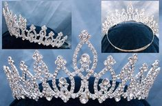 Garishly Beauty Pageant Crown This Pageant Crown , All Rhinestone are shiny & clear ,The crown made my silver metal , new never worn , This Glamorous Crown perfect for your beauty pageant crowning for