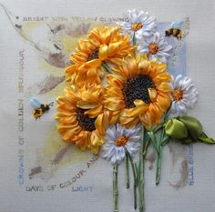 Ribbon emboidery with sunflowers