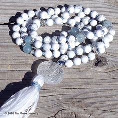 """""""White Calm""""- Aligning the Crown Chakra, 108 beaded, hand knotted Mala Necklace from www.mymusejewelry.com"""