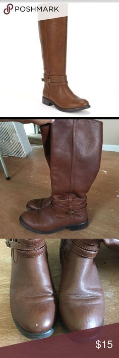 Lauren Conrad riding boots Chestnut color riding boots. Have been worn few markings here and there, little hole in left back shoe. Shoes Over the Knee Boots