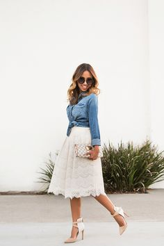 Don't forget to enter the on my previous post to win this gorgeous lace midi skirt! Lace Skirt Outfits, Lace Outfit, Modest Outfits, Modest Fashion, Lace Dress, Dress Up, Fashion Outfits, Denim And Lace, Denim Top
