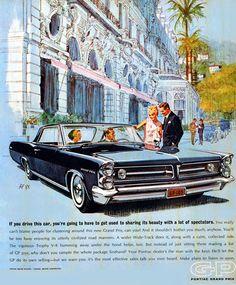 Pontiac Grand Prix 1963 Hotel - www.MadMenArt.com   Vintage Cars Advertisement…