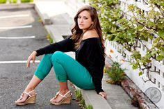 Bright jeans and wedges are totally hot! Love this pose!