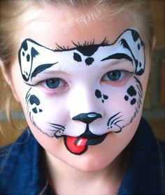 When you think about face painting designs, you probably think about simple kids face painting designs. Many people do not realize that face painting designs go Animal Face Paintings, Animal Faces, Animal Paintings, Puppy Face Paint, Dog Face Paints, Dalmation Makeup, Girl Face Painting, Body Painting, Theatrical Makeup