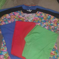 Uniform Bundle size Small Bundle of 3 pants 3 shirts  1.Lime green cargo pants tie waist size XSmall 1.Red cargo pants tie waist size Small 1.Blue pants (hospital style reversible)tie waist size Small 1.Multi colored Cherokee top double waist pockets tie back size Small (size tag ripped) 1.Black V neck double waist pockets size Small  1.Blue V neck reversible top breast pocket inside and out Other