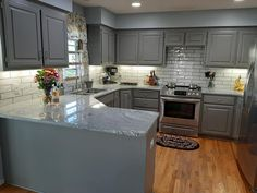 Grey Bathroom Cabinets, Repainting Kitchen Cabinets, Grey Cabinets, White Kitchen Cabinets, Diy Kitchen, Kitchen Design, Kitchen Ideas, Benjamin Moore Chelsea Gray, Benjamin Moore Kitchen