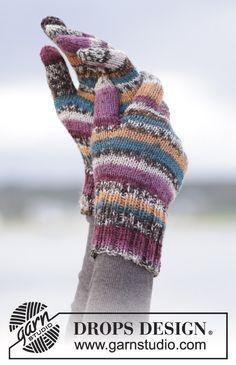 "Autumn Stripes - Gestrickte DROPS Basis-Fingerhandschuhe in ""Fabel"". - Gratis…"