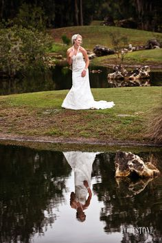 Outdoor bridal portrait with Vintage bride gown - Footstone Photography