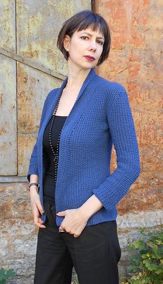 Shawl collar knitted jacket (cotton) #seamless #kuduja #drops