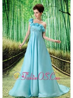 One Shoulder Embroidery Decorate Bust Chiffon Watteau Train 2013 Prom / Evening Dress- $147.23  http://pinterest.com/fashionos/  http://www.youtube.com/user/fashionoscom?feature=mhee  This wonderful prom dress is simple and elegant! The flowing skirt falling from high waist has folds to pool to the floor forming a elegant train. One shoulder with many tiers of falbala will make you lovely and glamourous. A drapping fabric fall down to the front creating a fairy effect.