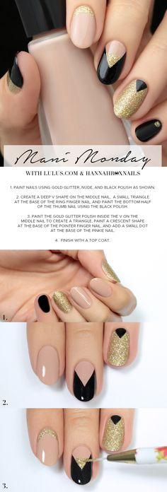 Monday: Gold and Black Nail Tutorial Mani Monday: Gold and Black Nail Tutorial at ! --> use a chrome instead of glitter and MATTIFY IT!Mani Monday: Gold and Black Nail Tutorial at ! --> use a chrome instead of glitter and MATTIFY IT! Diy Nails, Glitter Nails, Gold Nails, Gold Glitter, Pink Black Nails, Nail Black, White Nails, Uñas Diy, Nagellack Design
