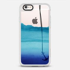 Watercolor Ocean Blue Gradient Nautical Anchor on Transparent Background  -