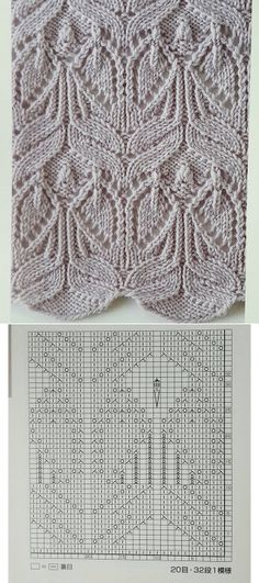 leaf lace and cables --- these look a little like angels to me -- knit pattern chart