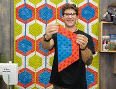 Man Sewing - Heidi's Hexis Quilt