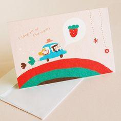 message card-자동차딸기 - 잼스튜디오, 디자인문구, 편지/카드, 카드, 일러스트카드