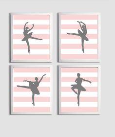 Nursery Art Balerina Ballet Stripes Pink Grey set by ZeppiPrints