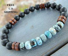Purification, Mens Turquoise, Onyx bracelet mala, Reiki, Tribal bracelet, healing bracelet, energy bracelet, turquoise bracelet, men's mala