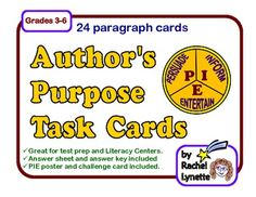Author's Purpose Task Cards: 24 Cards: Persuade, Inform & Entertain. $