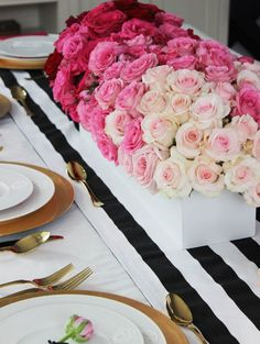 Gorgeous pink ombré roses are a romantic centerpiece for your Valentine's Day wedding.