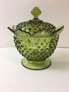 Hobnail Covered Honey Jar or Sugar Jar Apple Green//Depression Green