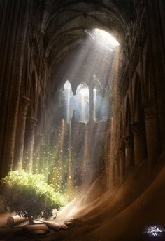 NATURE IV- Hope © Loisel JEROME (Artist, France) aka jaymahjad via DeviantArt. Digital Art. Photomanipulation.  Landscapes  Scenery. Sapling, Growth, Old Ruins.  Prints:  $20 +