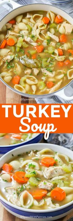 Turkey soup is a super quick and easy dinner. Use your leftover turkey and have dinner ready in under half an hour! Turkey Soup From Carcass, Turkey Noodle Soup, Casserole Recipes, Soup Recipes, Dinner Recipes, Cooking Recipes, Crockpot Recipes, Turkey Recipes, Chicken Recipes