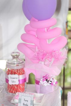 Minnie mouse theme, pink and white party, wafer sticks, chocolate covered pretzels, balloon, candy bar, sweet table, edible party favor