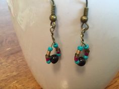 Handmade Beaded Earrings - Simple Loop, Magenta, Turquoise, Bronze and Purple Glass Beads by cemFLORAL on Etsy