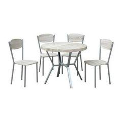 Table De Cuisine  Table de cuisine ronde métal + 4 chaises POITIERS