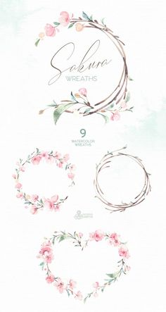 Watercolor Floral clipart, cherry blossom, f… – Tatto Ideas Wreath Watercolor, Watercolor Flowers, Watercolor Wedding, Watercolor Tips, Watercolor Design, Watercolor Tattoo, Watercolor Paintings, Arte Floral, Kranz Tattoo