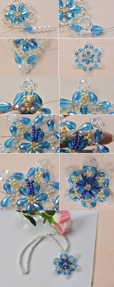 Tutorial for flower beaded necklace, LC.Pandahall.com will tell you details.