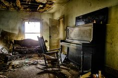 Sing Me A Song, Mr Piano Man - a rural decay image from an ild abandoned farm house in Central Kentucky