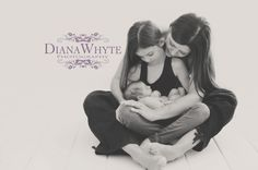 Mother and daughters newborn photography