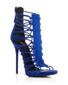 Head over Heels - Giuseppe Zanotti Coline Strappy High Heel Sandals. Strappy Sandals Heels, High Heels Stilettos, Shoes Heels, Caged Sandals, Sandals Outfit, High Sandals, Strap Sandals, Sexy Heels, Leather Sandals