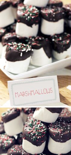 Hot Chocolate Bar w/ chocolate dipped marshmallows.- Christmas/New Years party idea Christmas Treats, Christmas Baking, Holiday Treats, Holiday Recipes, Yummy Treats, Delicious Desserts, Sweet Treats, Yummy Food, Hot Chocolate Party