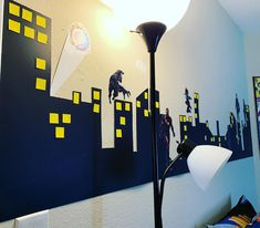 "Creative Chris DSigns LLC on Instagram: ""Caden finally got his skyline. #walldecor #superheroroommakeover #skyline #marvelbedroom #creativechrisdsigns"""