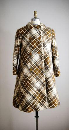 ABBOTSFORD 1960s plaid wool swing winter coat