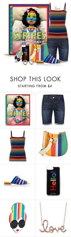 """A Bad Case of Stripes by David Shannon"" by funnfiber ❤ liked on Polyvore featuring Tokyo Laundry, Dolce&Gabbana, MCM, Malone Souliers, Edie Parker, Alice + Olivia, Sydney Evan and Lana Jewelry"