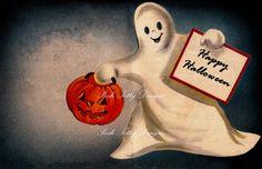 Ghostly Halloween Vintage Greetings Card by poshtottydesignz Classic Halloween Costumes, Retro Halloween, Scary Halloween, Vintage Halloween Images, Halloween Pictures, Vintage Images, Vintage Greeting Cards, Vintage Postcards, Halloween Illustration