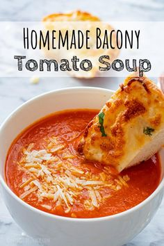 Homeade Tomato Soup Recipe | Eat Dessert Snack Tomato Soup From Scratch, Tomato Soup Recipes, Hot Soup, Soups, Bacon, Curry, Low Carb, Favorite Recipes, Homemade